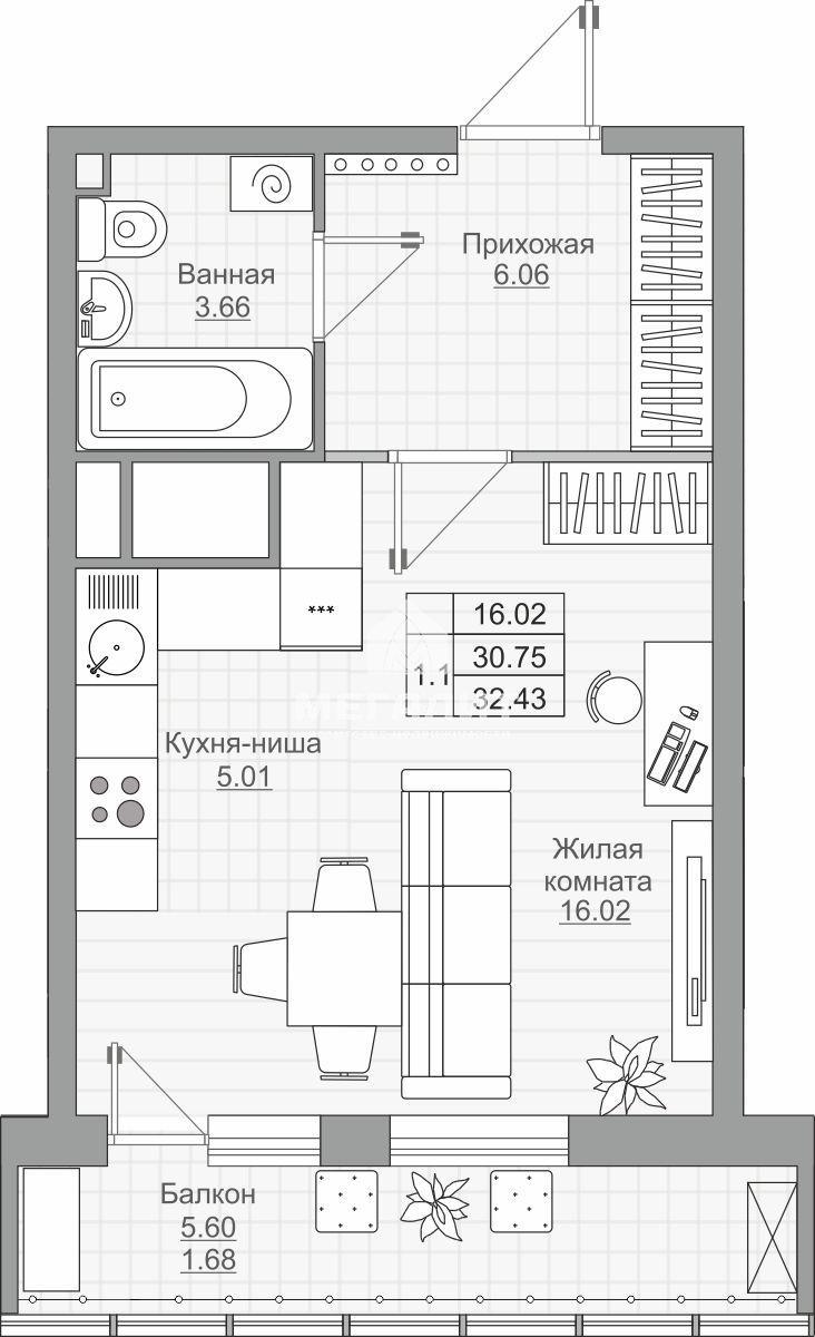 Продажа 1-к квартиры Детский 2.1