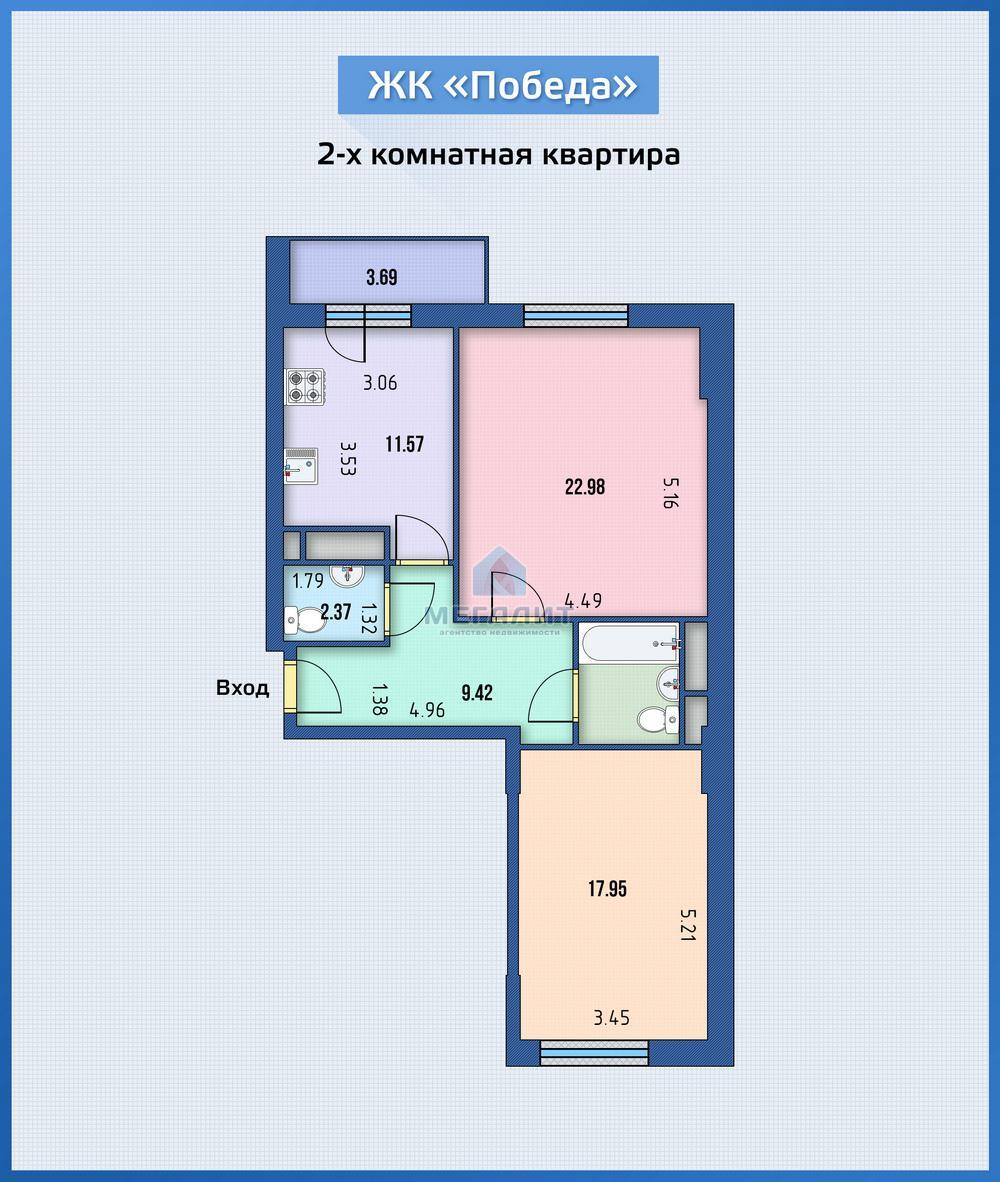 Продажа 2-к квартиры Победы 139/2