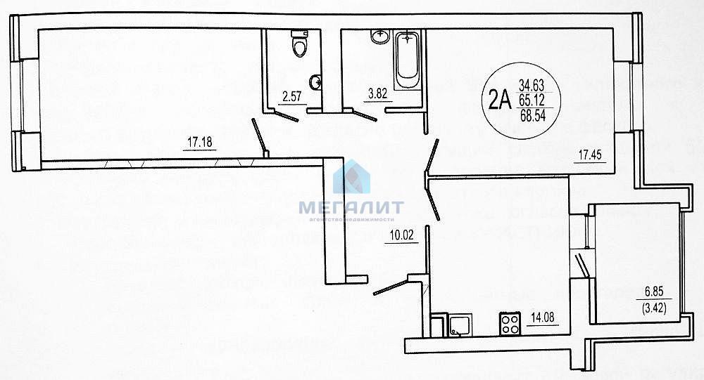 Продажа 2-к квартиры Кул Гали 34, 70 м²  (миниатюра №2)