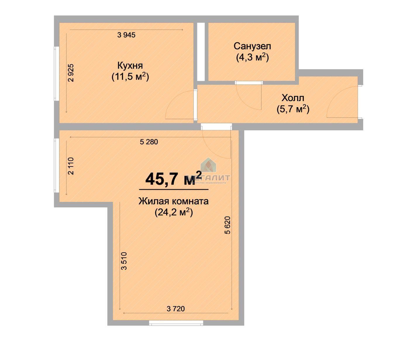 Продажа 1-к квартиры Центральная, 47 м2  (миниатюра №2)