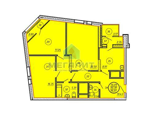 Продажа 3-к квартиры Даурская 16Г, 96 м2  (миниатюра №3)