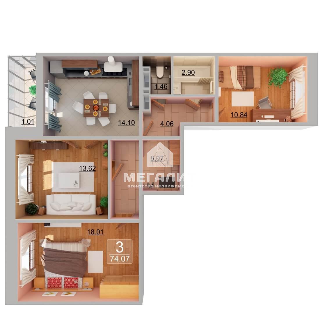 Продажа 3-к квартиры А. Камалеева