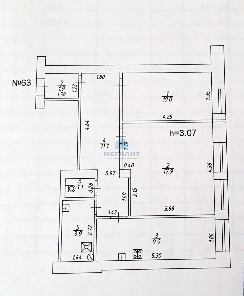 Продажа 2-к квартиры Белинского 8, 58 м2  (миниатюра №10)
